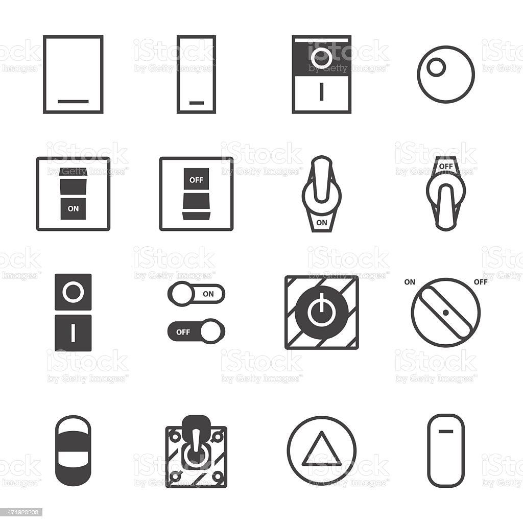 On/Off switch icon set vector art illustration