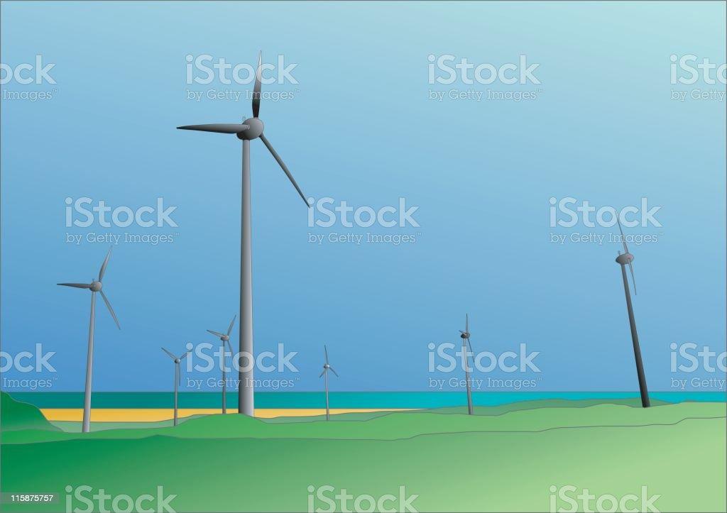 Onshore wind farm (green energy) - Vector illustration royalty-free stock vector art