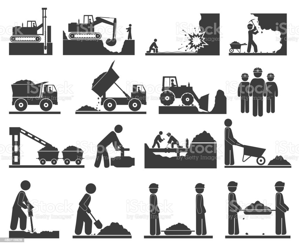 ??onstruction earthworks icons mining and quarrying coal, oil, g vector art illustration