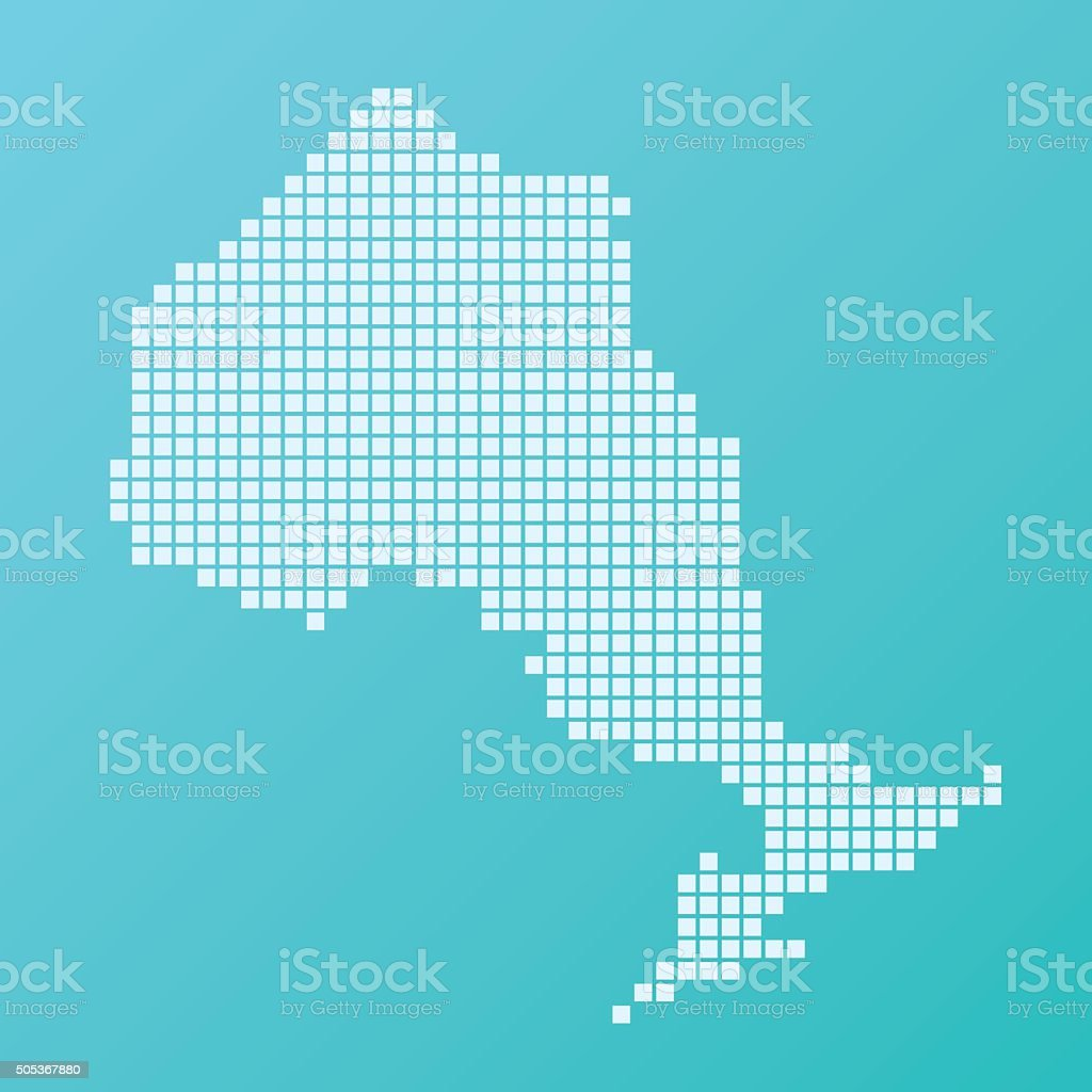 Ontario Map Basic Square Pattern Turquoise vector art illustration