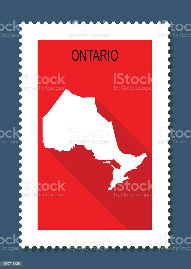 Ontario Map on Red Background, Long Shadow, Flat Design,stamp vector art illustration