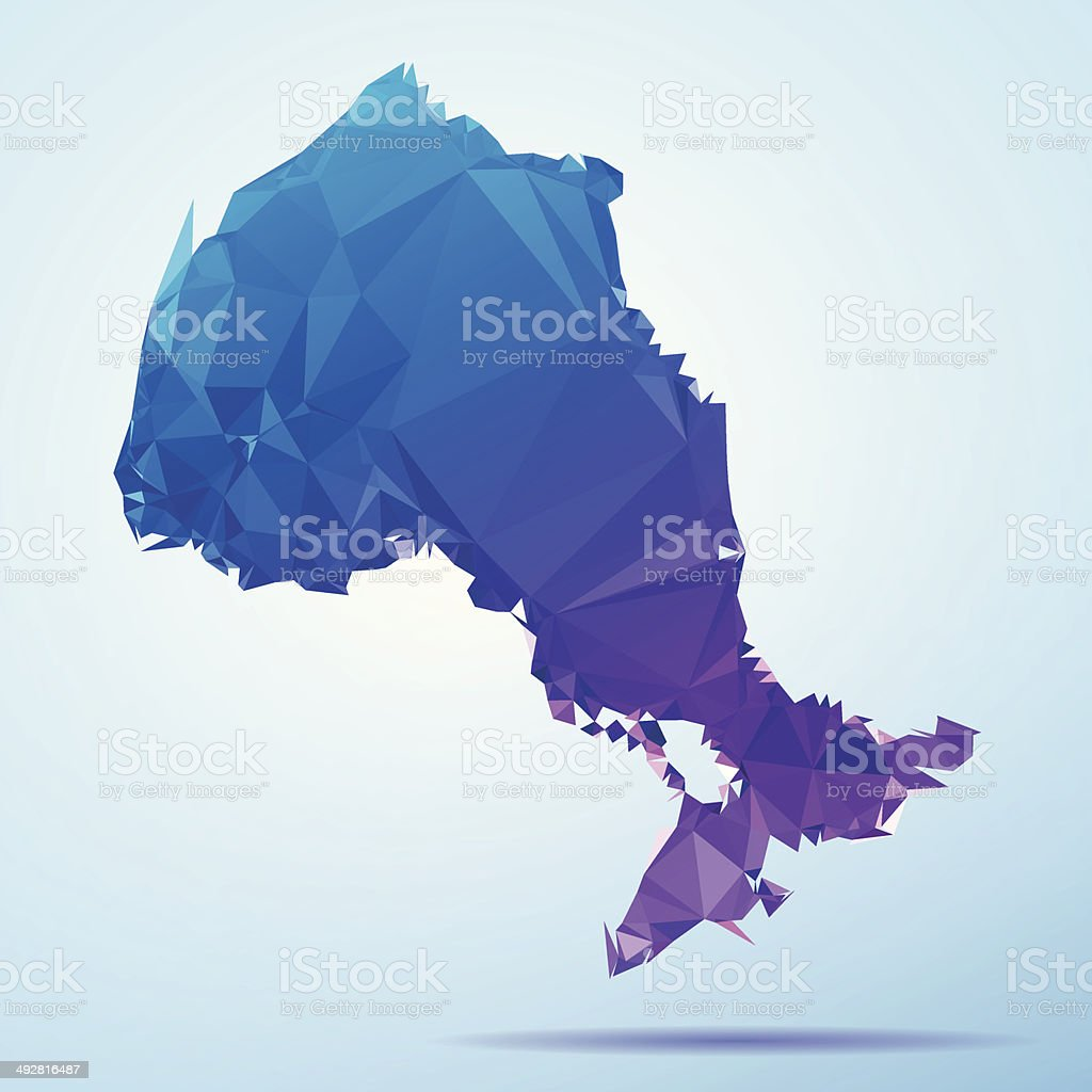 Ontario Polygon Triangle Map Blue vector art illustration