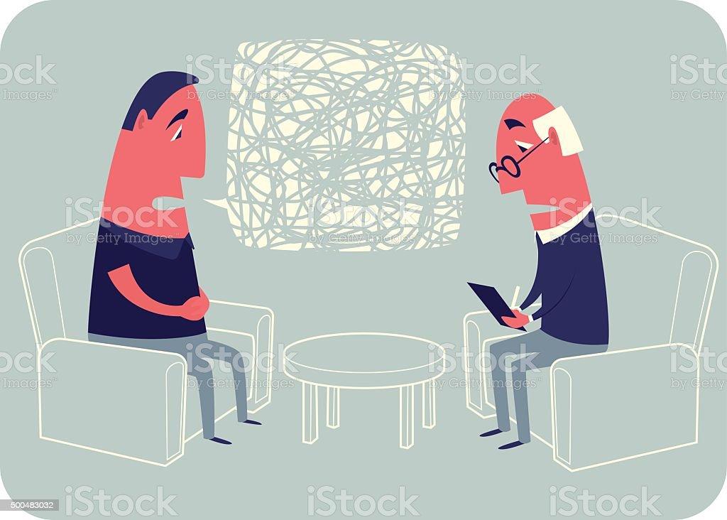 Сonversation with a psychoanalyst. vector art illustration