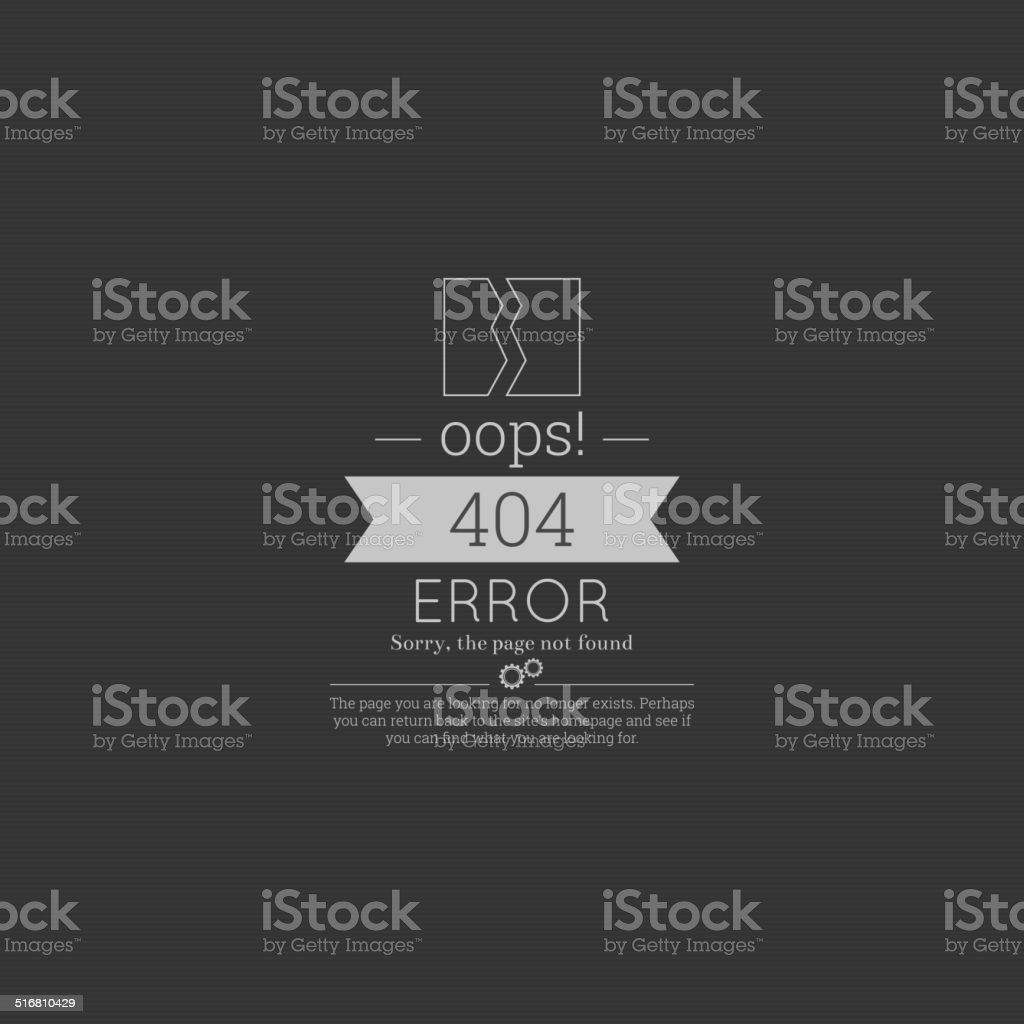 Oops. 404 error. Sorry, page not found. vector art illustration