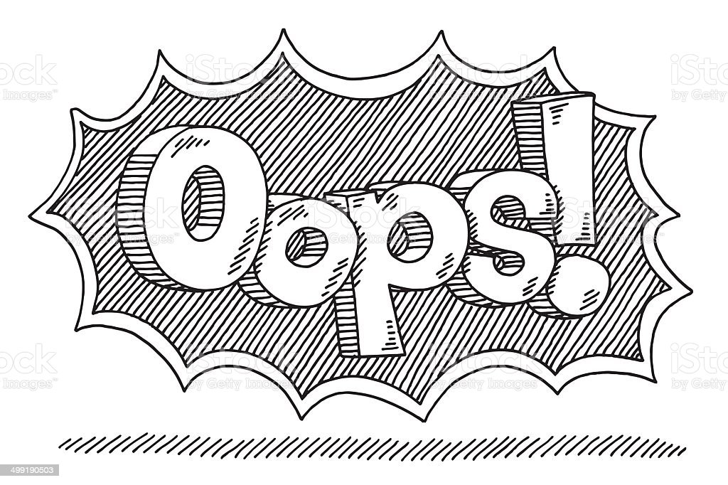 Oops! Comic Text Drawing vector art illustration