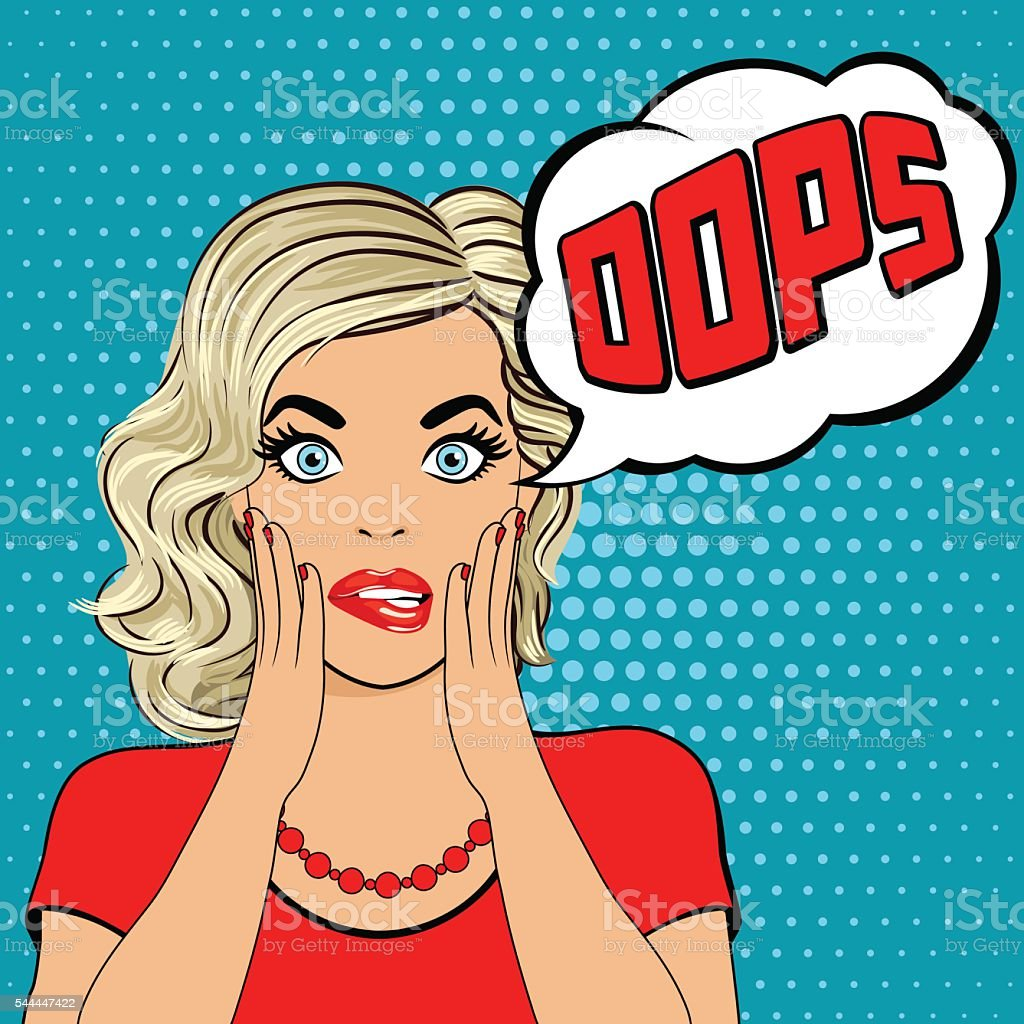 Oops. Surprised young blonde woman 2 vector art illustration