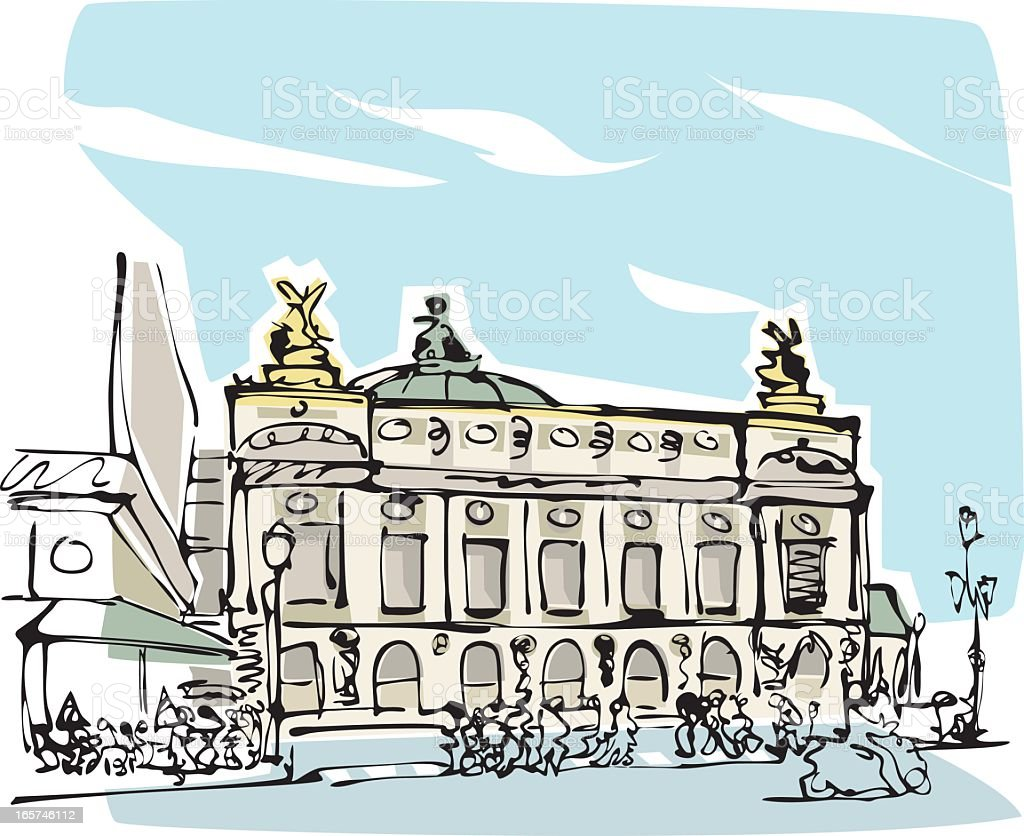 Opéra National de Paris royalty-free stock vector art