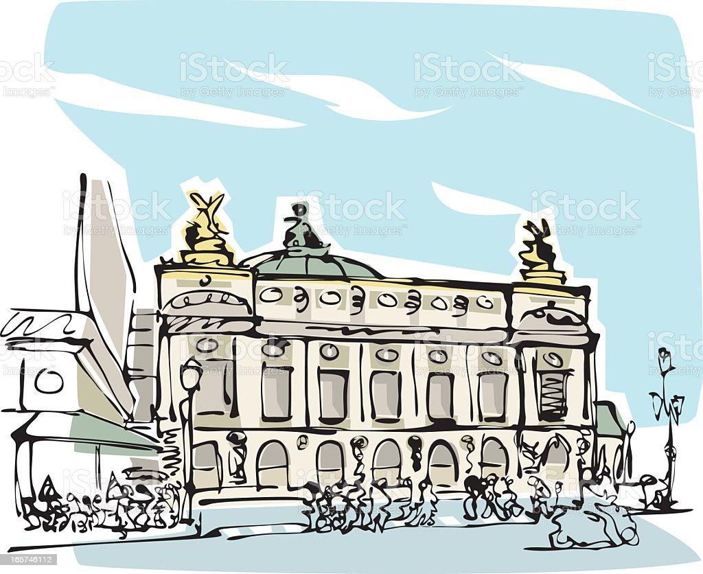 Opéra National de Paris vector art illustration