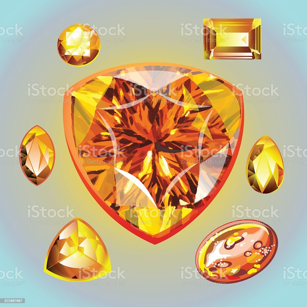 Opal different shape and cut. vector art illustration