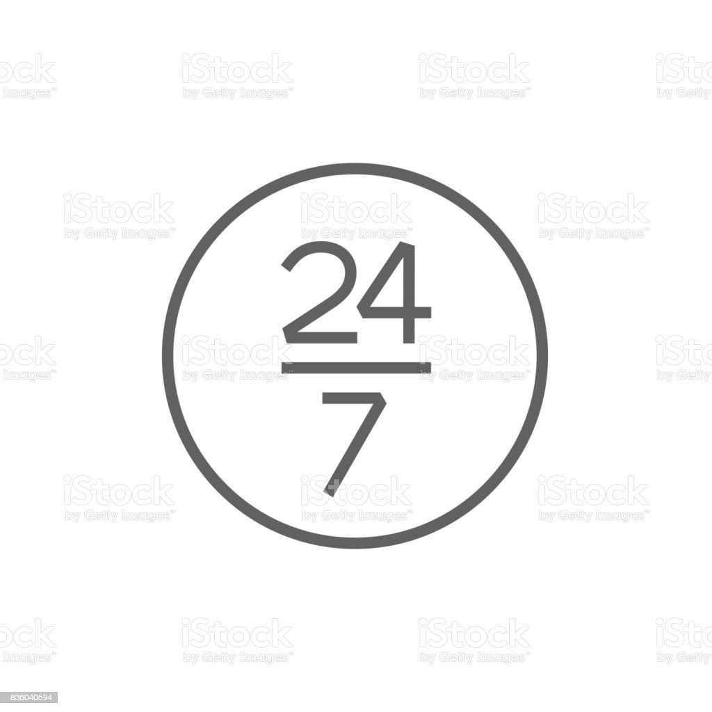 Open 24 hours and 7 days in wheek sign line icon vector art illustration