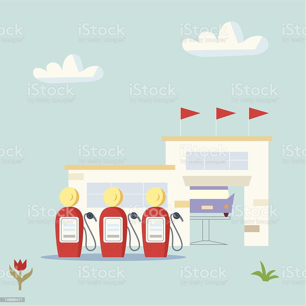 Open Air Garage vector art illustration
