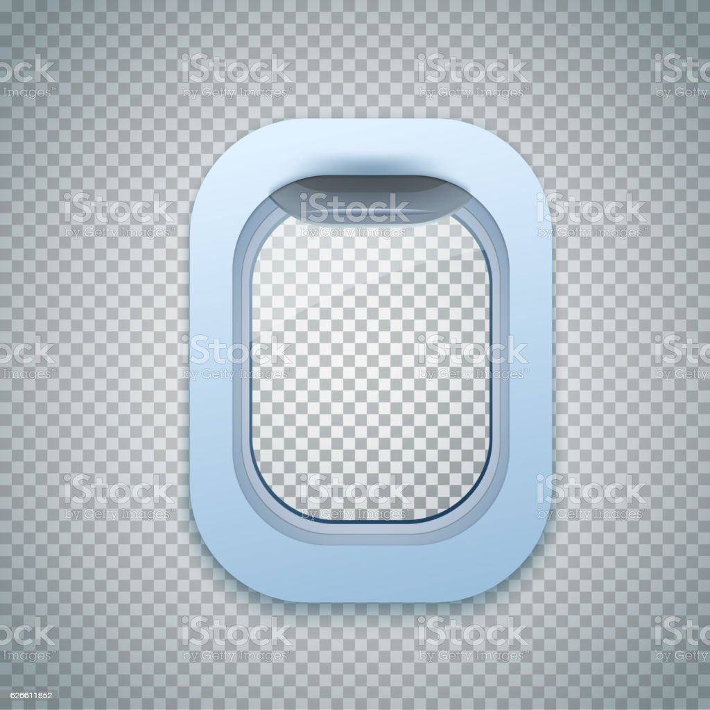 Open Aircraft window. Plane porthole isolated on transparent background. Vector. vector art illustration