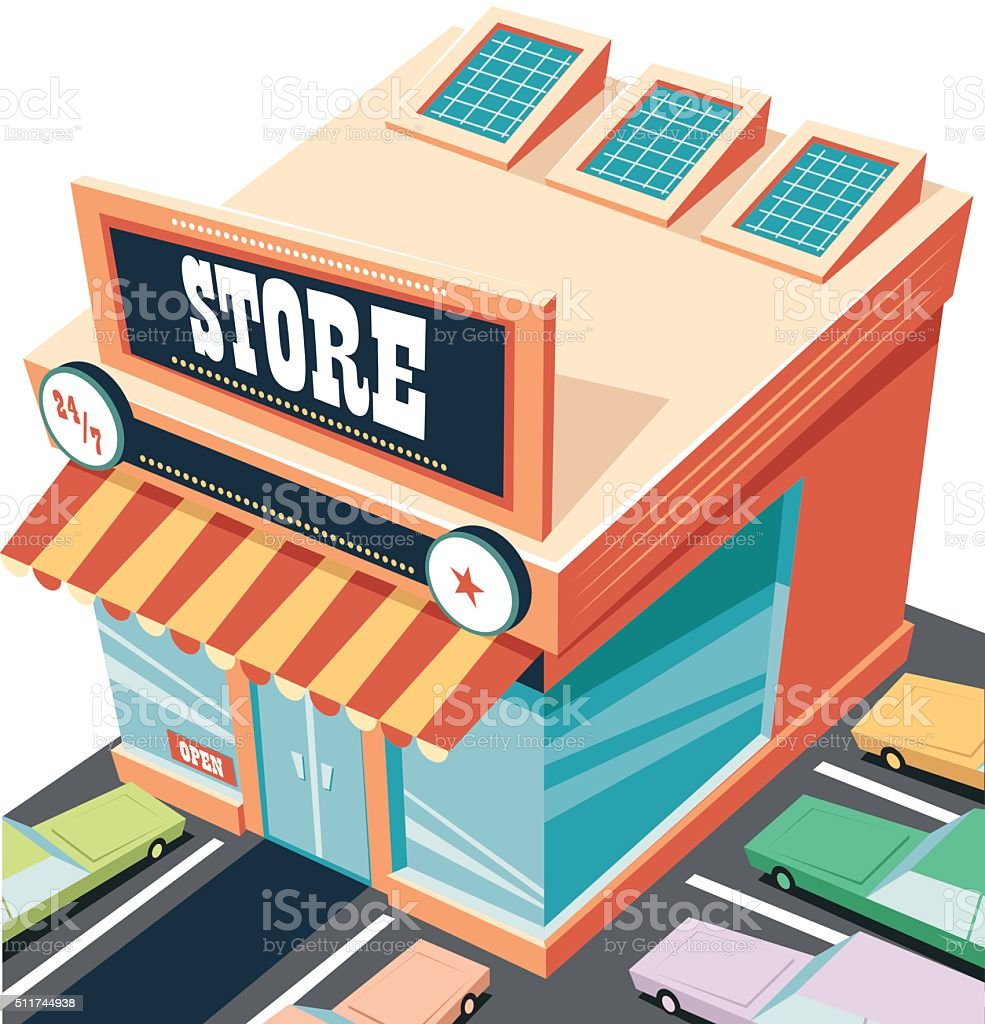 open all night store vector art illustration
