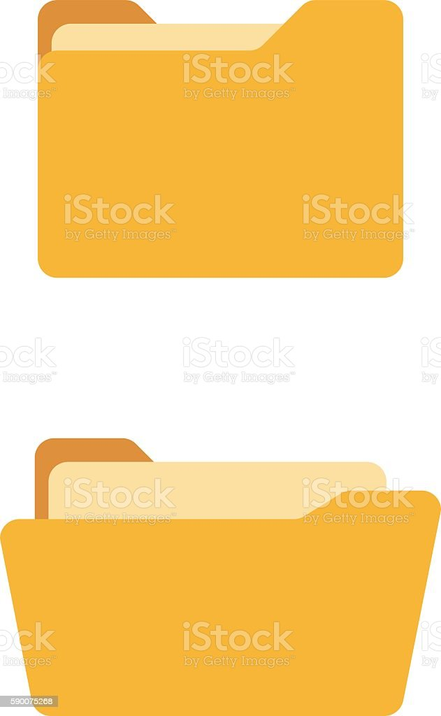 Open and close folder. Flat icons vector art illustration