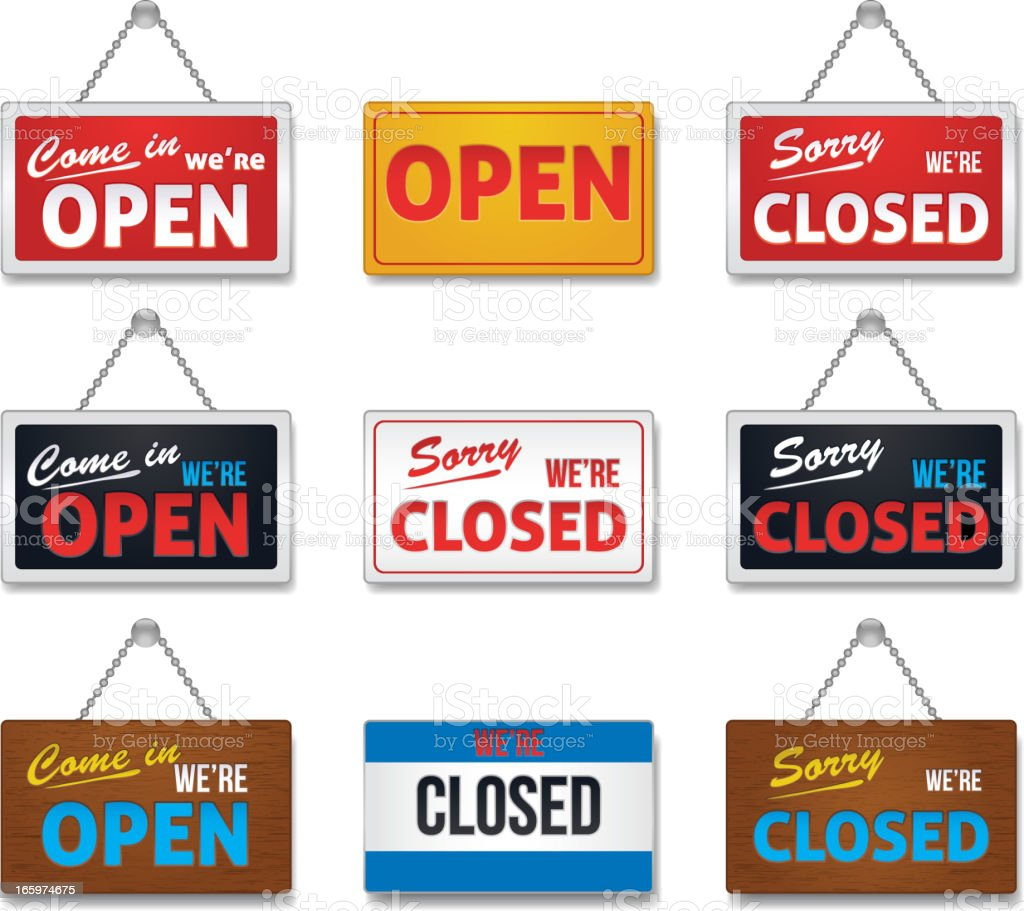 Open and close sign-collection vector art illustration