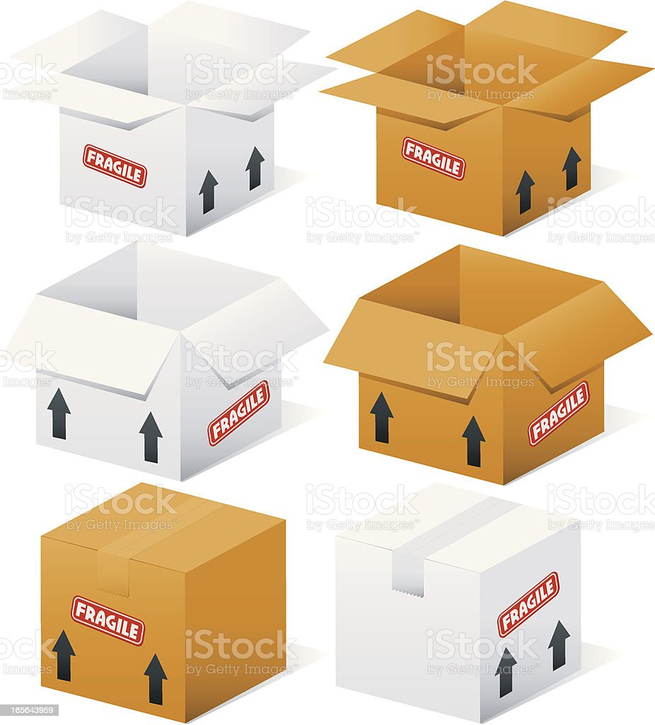 Open and Closed Boxes royalty-free stock vector art