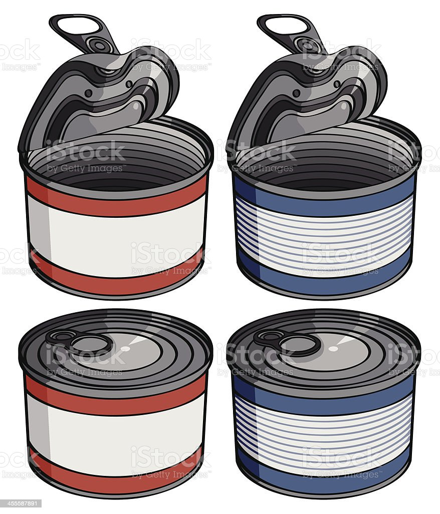 open and closed cans-red / blue vector art illustration