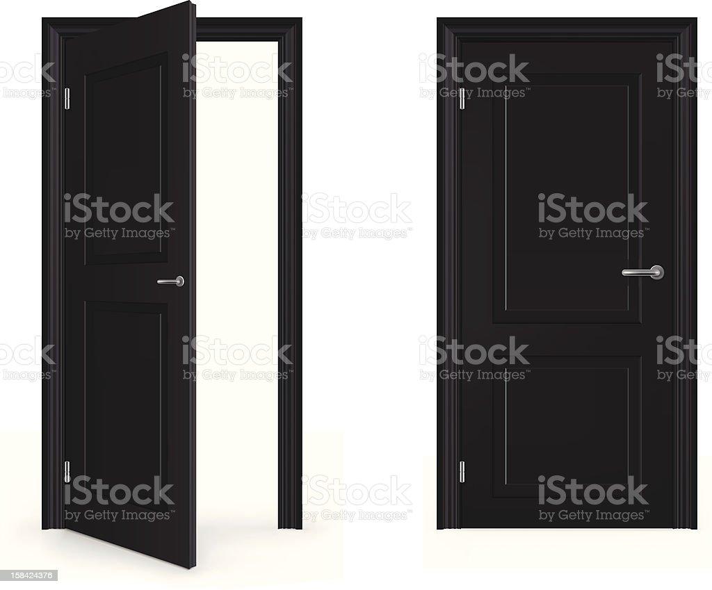 Open and Closed Door vector art illustration
