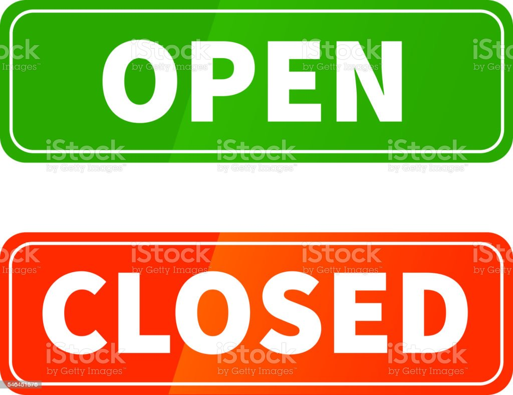 Open and closed glossy signs on white vector art illustration