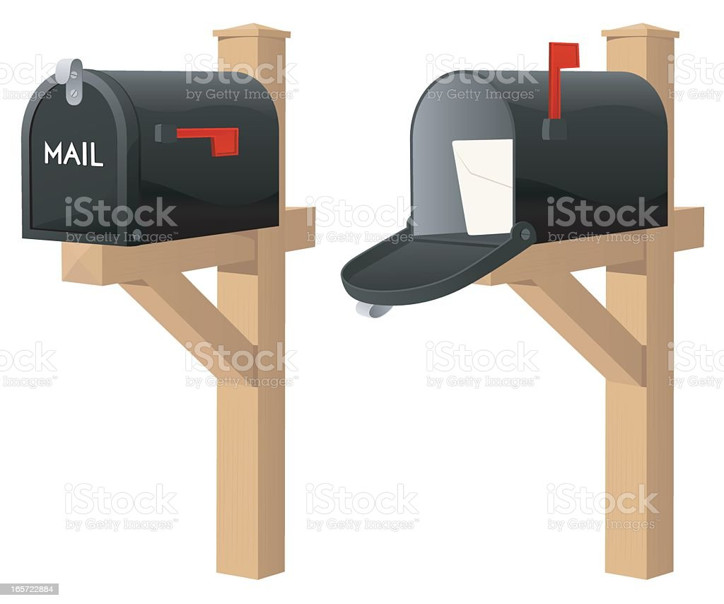 Open and closed mailbox vector image vector art illustration