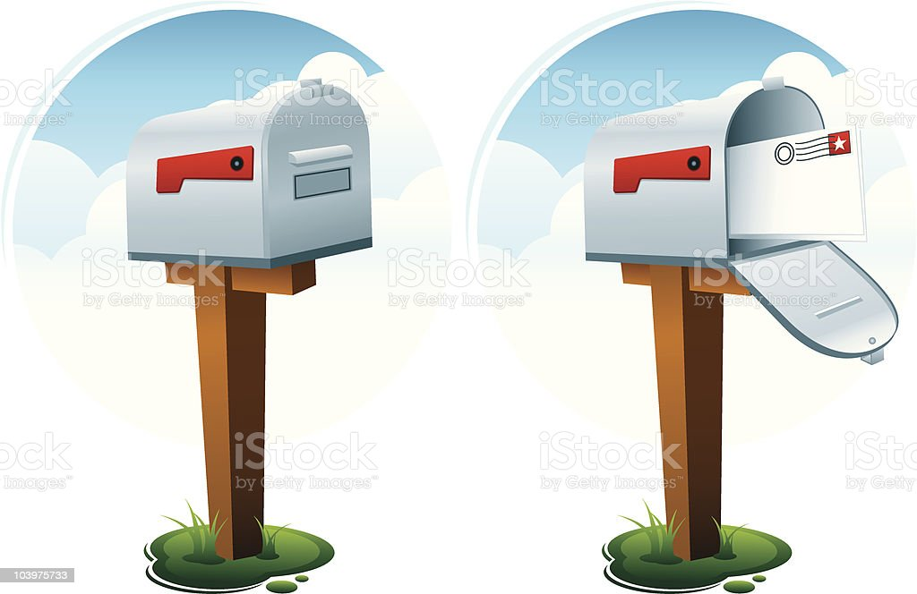 Open and Closed Mailboxes vector art illustration