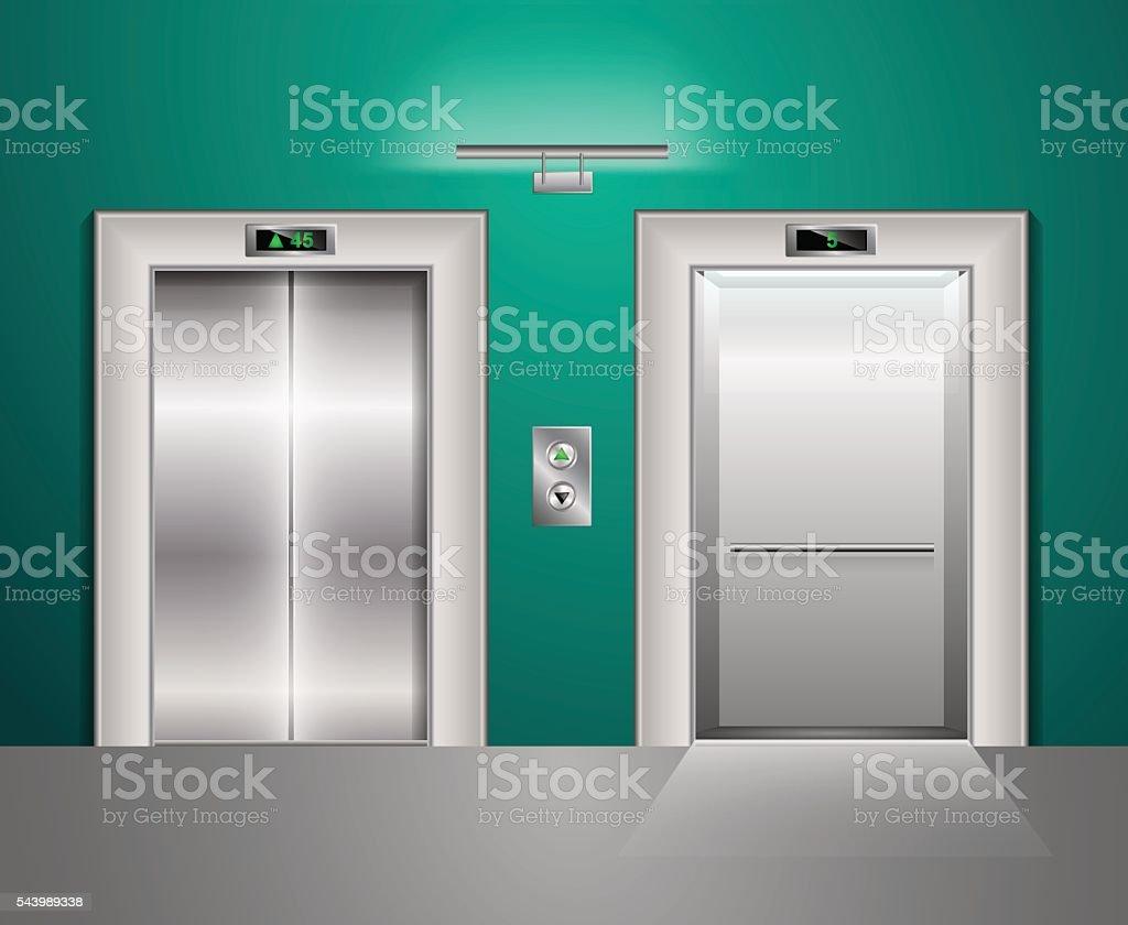 Open and Closed Modern Metal Elevator Doors. Hall Interior in vector art illustration