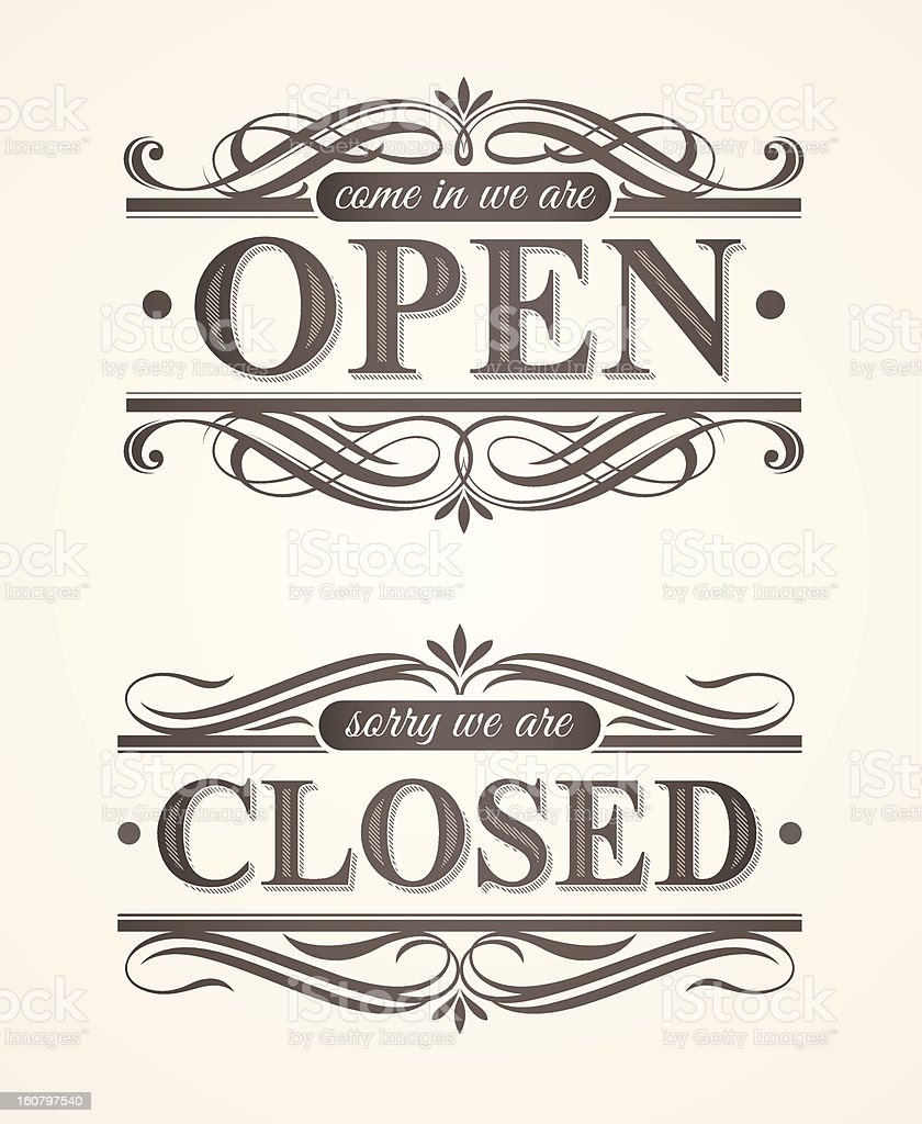 Open and Closed - ornate retro signs vector art illustration