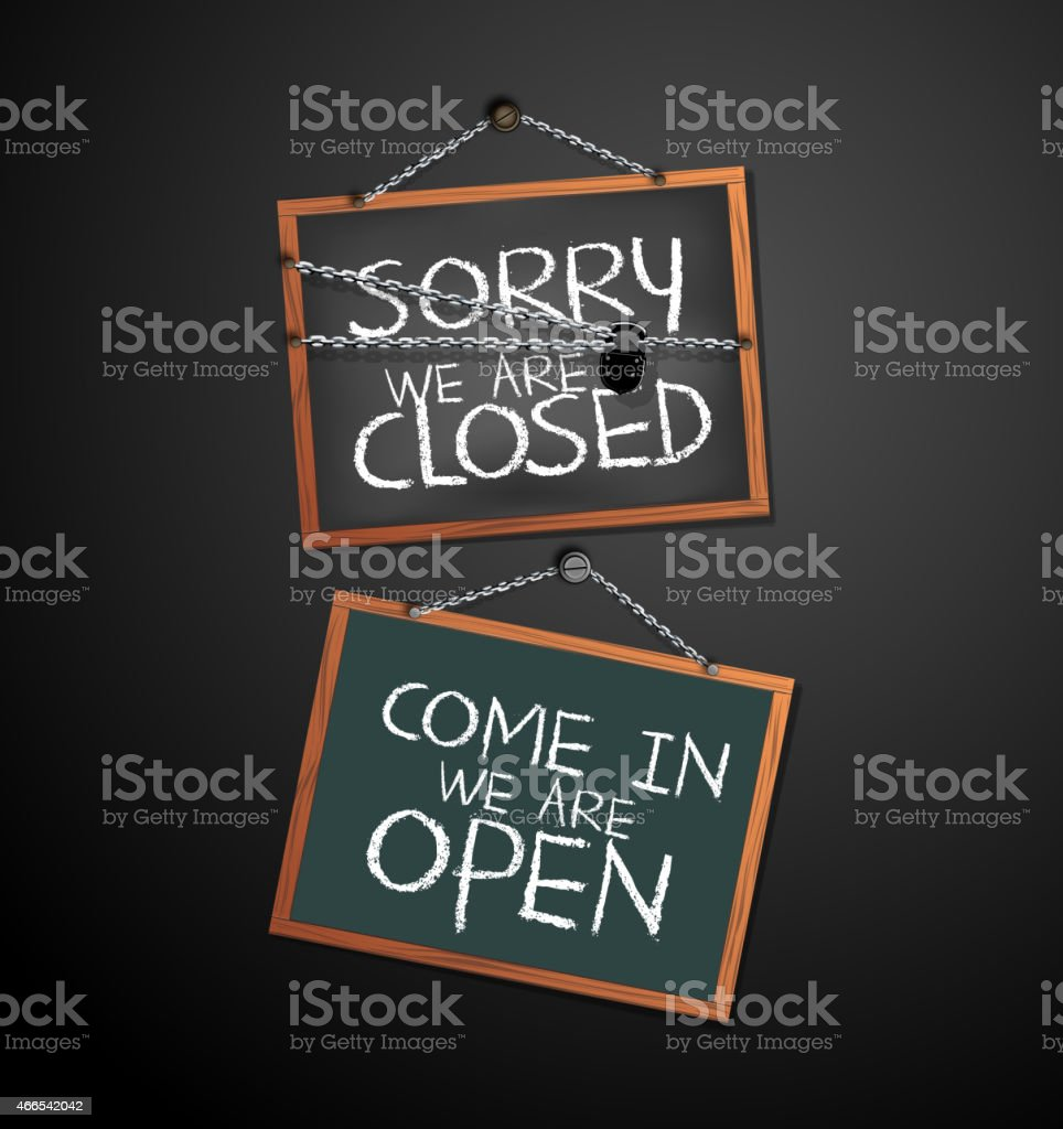 Open and Closed Signs on blackboard hanging with chain. vector art illustration