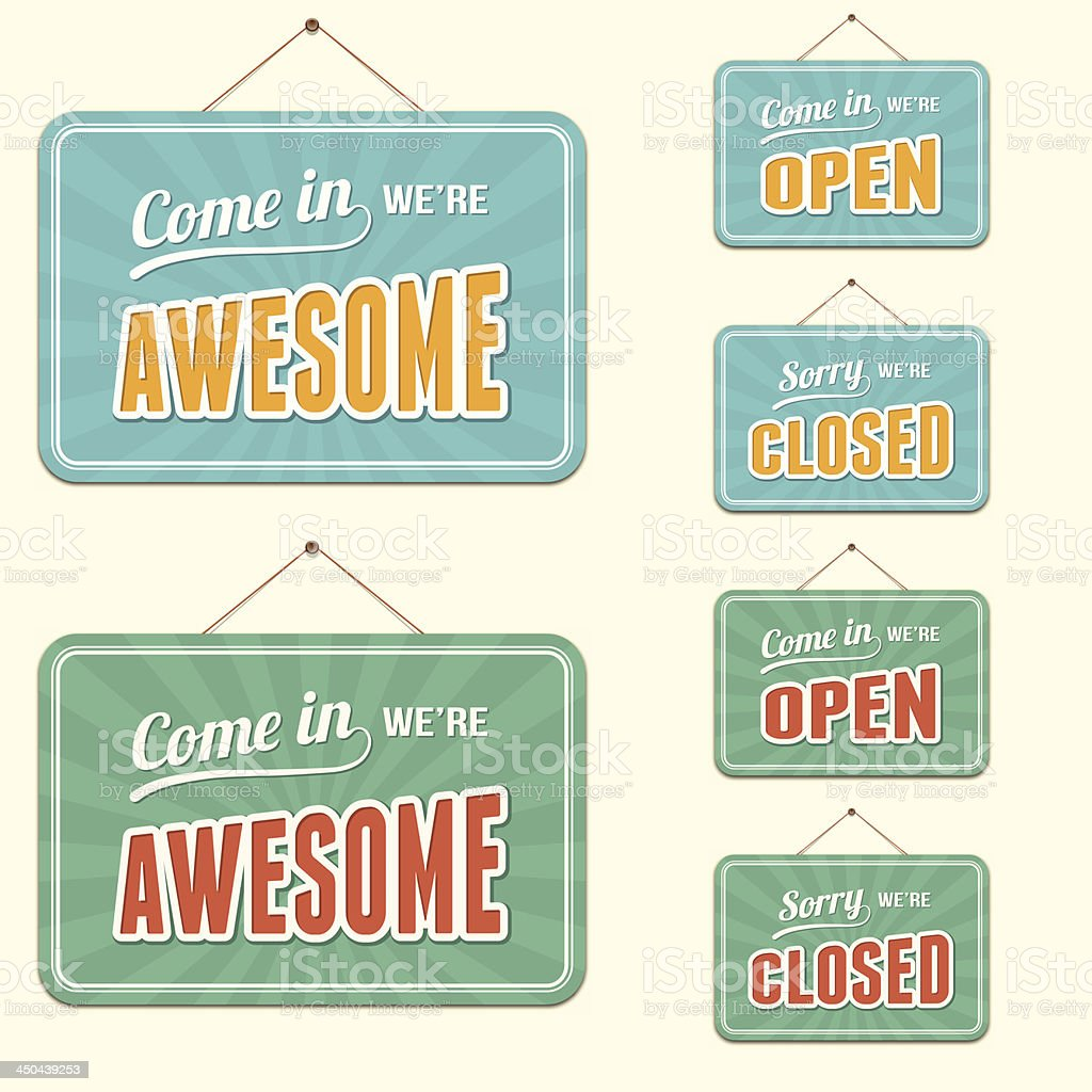 Open and Closed Signs plus Novelty Text vector art illustration