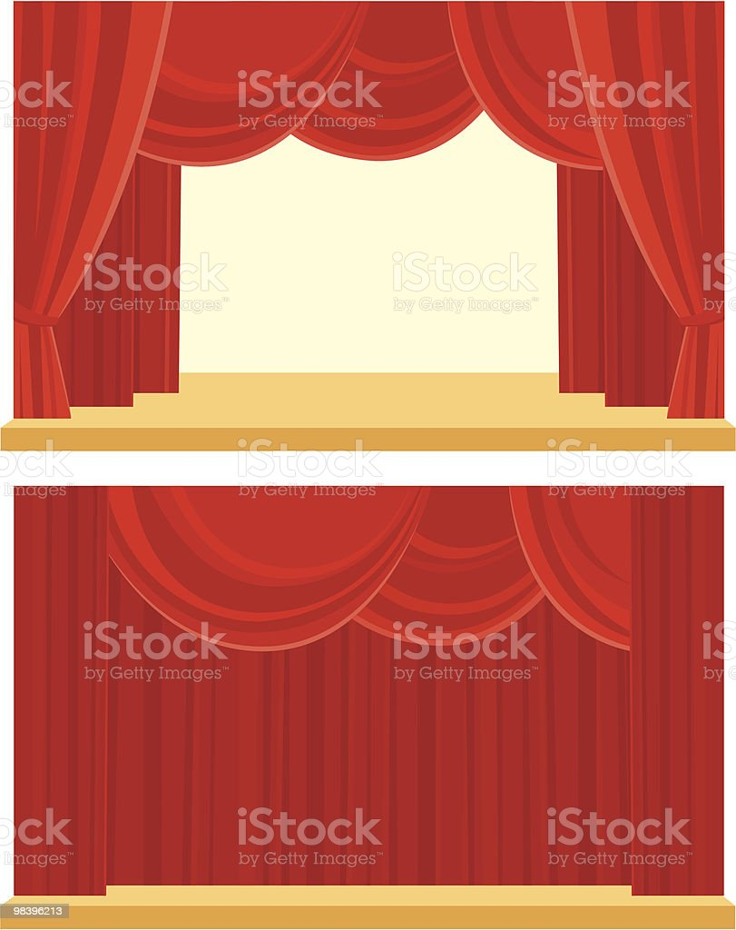 Open and closed the curtain royalty-free stock vector art