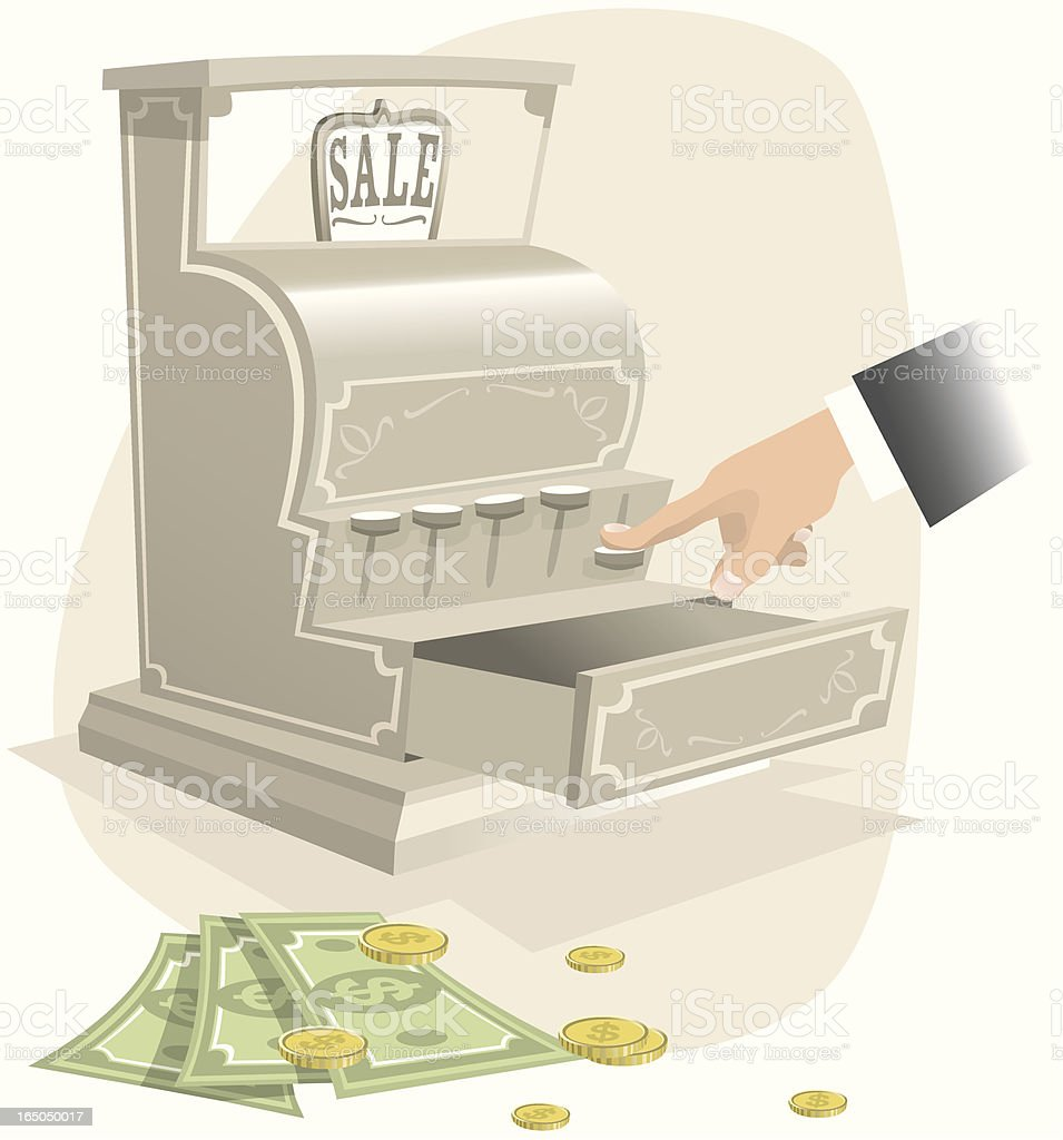 Open antique cash register with money royalty-free stock vector art