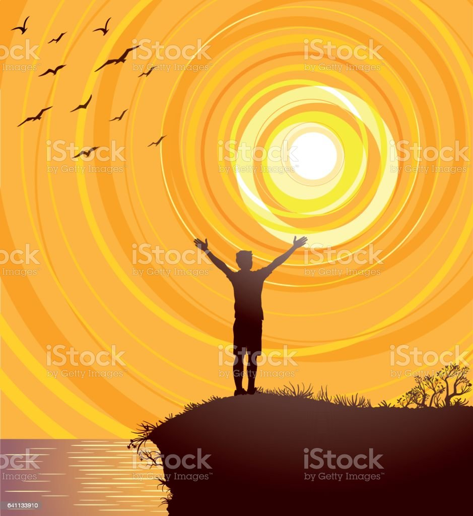 Open Arms To The Joy Of Nature vector art illustration