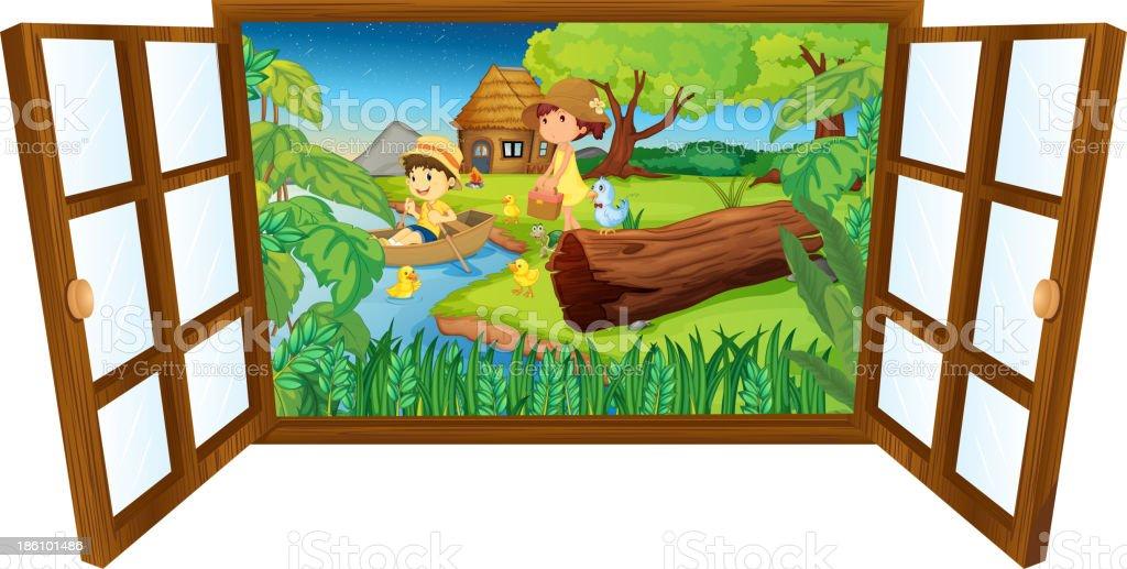 Open barn windown royalty-free stock vector art
