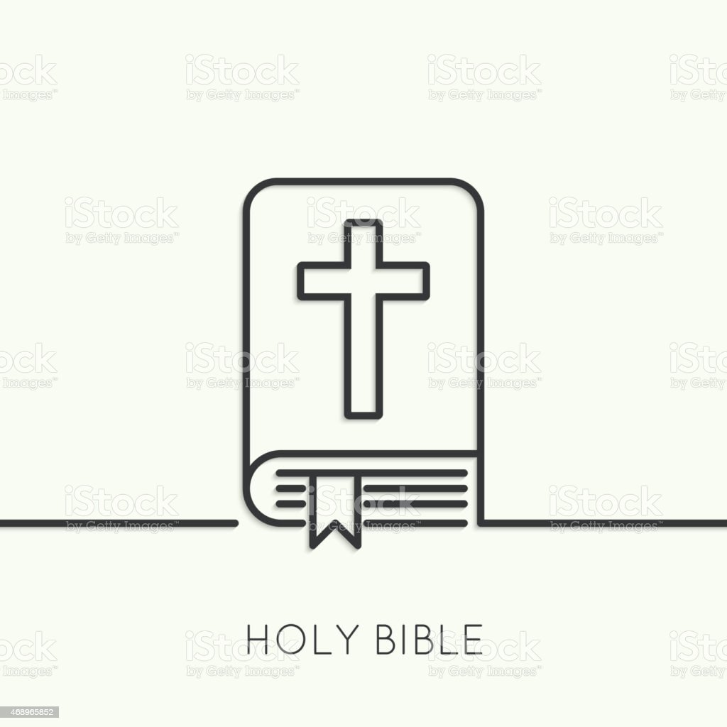 Open Bible with a crucifix vector art illustration