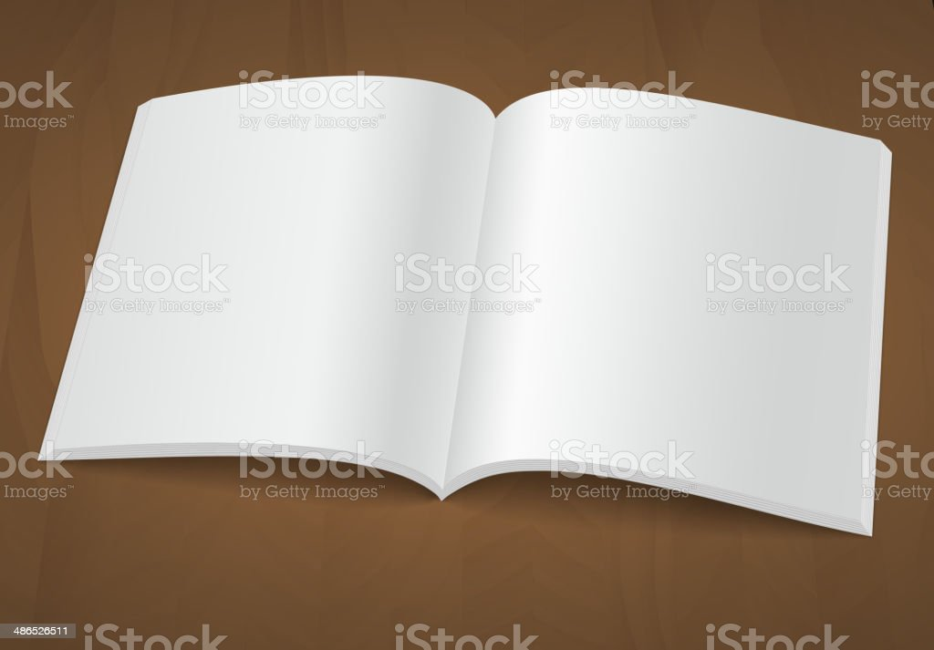 Open blank brochure or magazine on a wooden background royalty-free stock vector art
