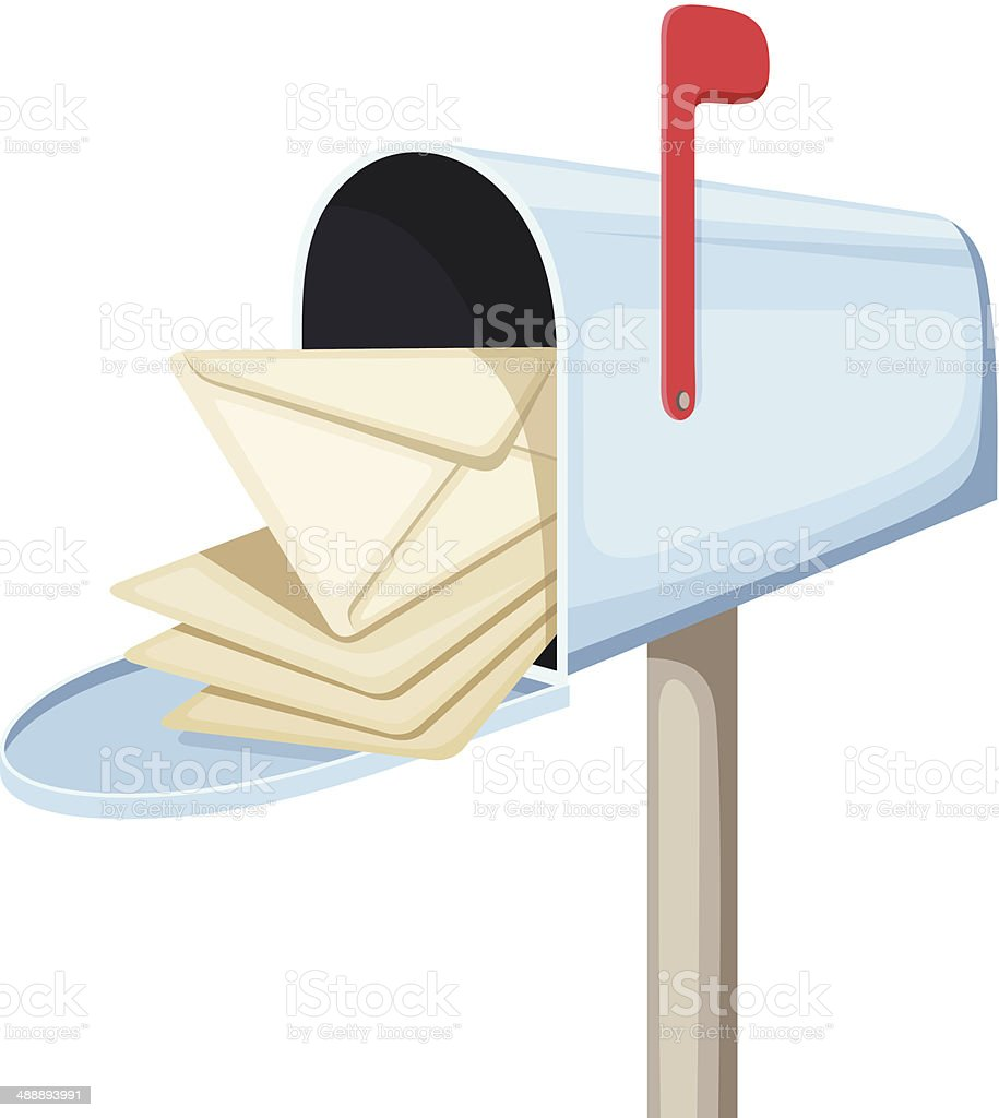 Open blue mailbox with letters. Vector illustration. vector art illustration