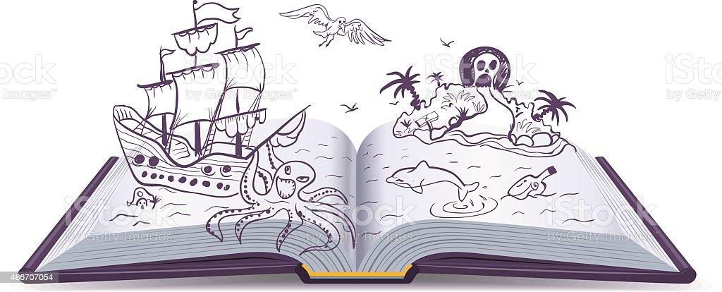 Open book Adventure. Treasures, pirates, sailing ships, adventure. Reading fantasy vector art illustration