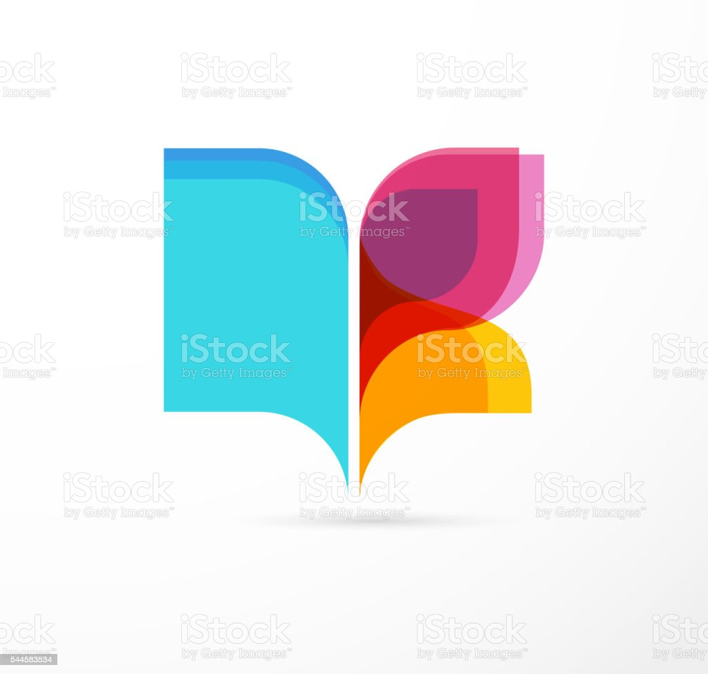 Open book and butterfly - colorful concept icon of education vector art illustration