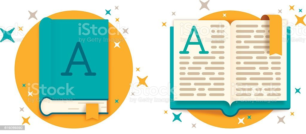 Open Book and Closed Book vector art illustration