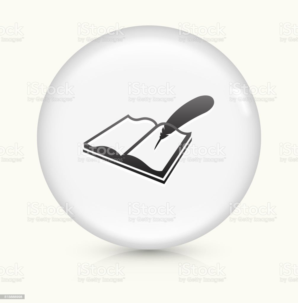 Open Book and Quill icon on white round vector button vector art illustration