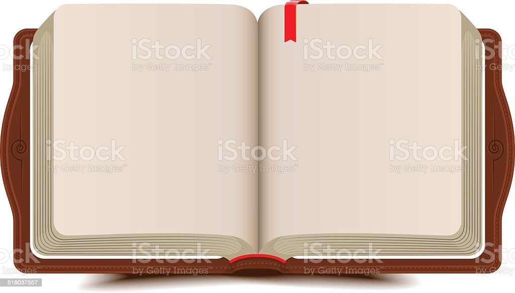 Open book diary with bookmark vector art illustration