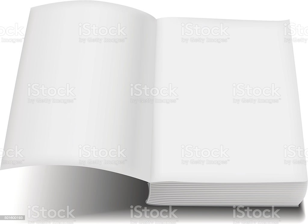 Open book front page paperback limp binding vector art illustration