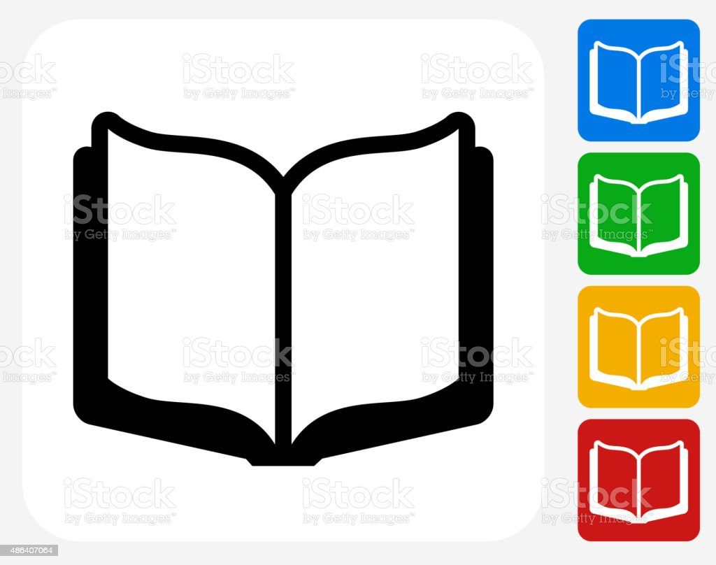 Open Book Icon Flat Graphic Design vector art illustration