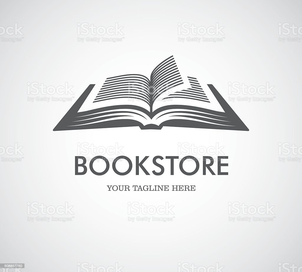 Open book logo vector art illustration