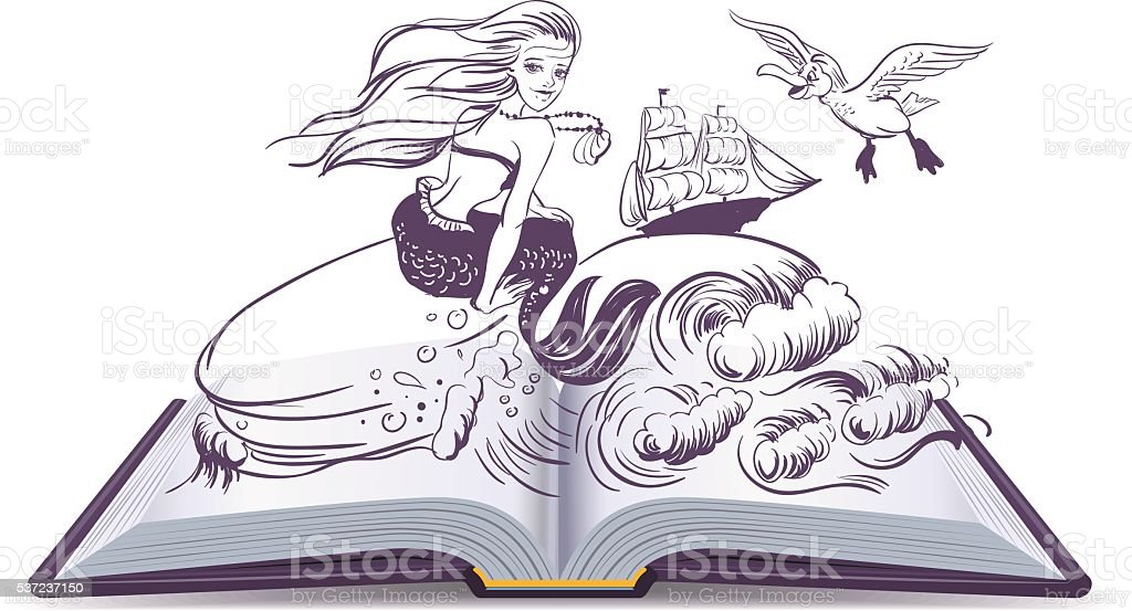 Open book Tale of Mermaid. Reading develops imagination vector art illustration