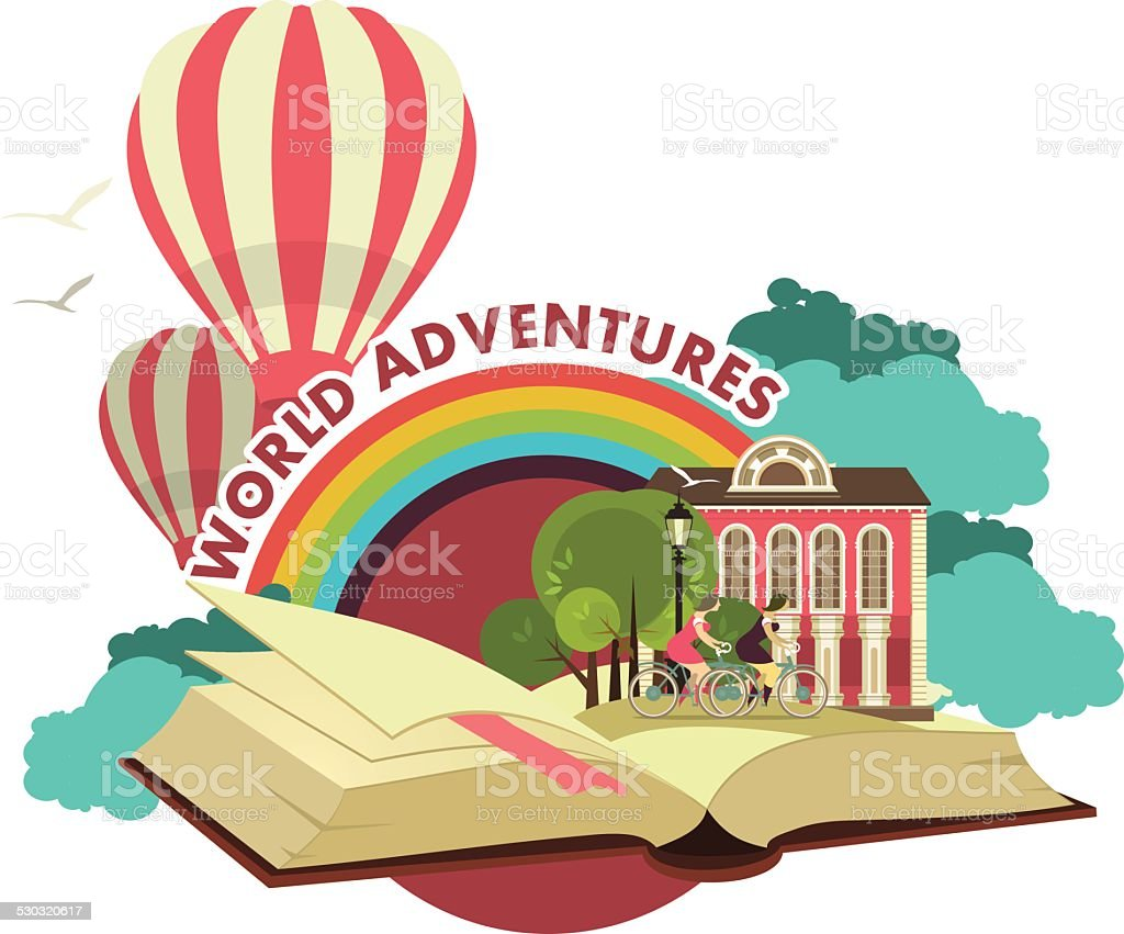 Open Book Trip To Fabulous Worlds Emblem vector art illustration