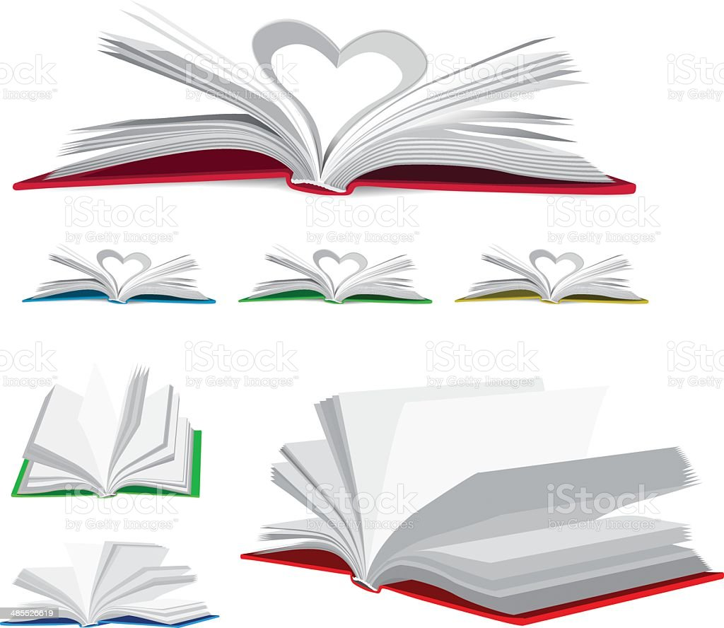 Open book vector set vector art illustration