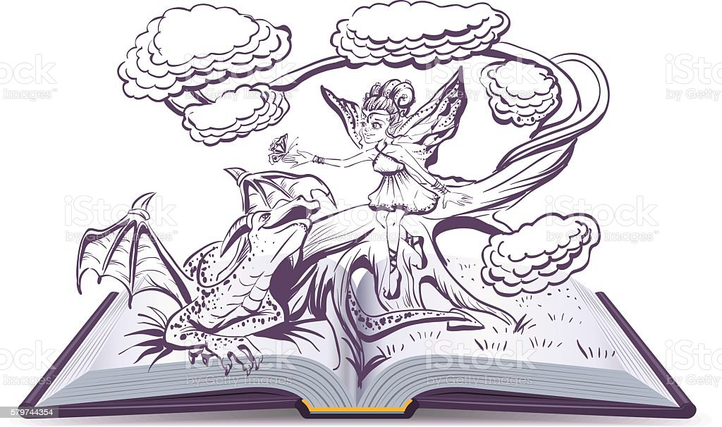 Open book with an illustration Fantasy. Elf Woman and Dragon vector art illustration