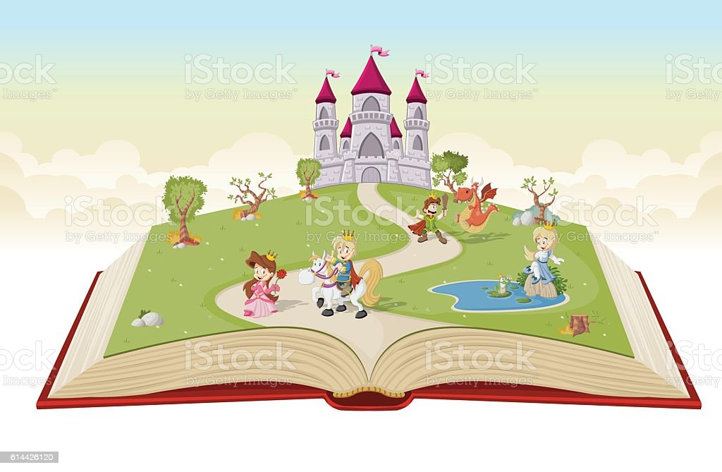 Open book with cartoon princesses and princes vector art illustration