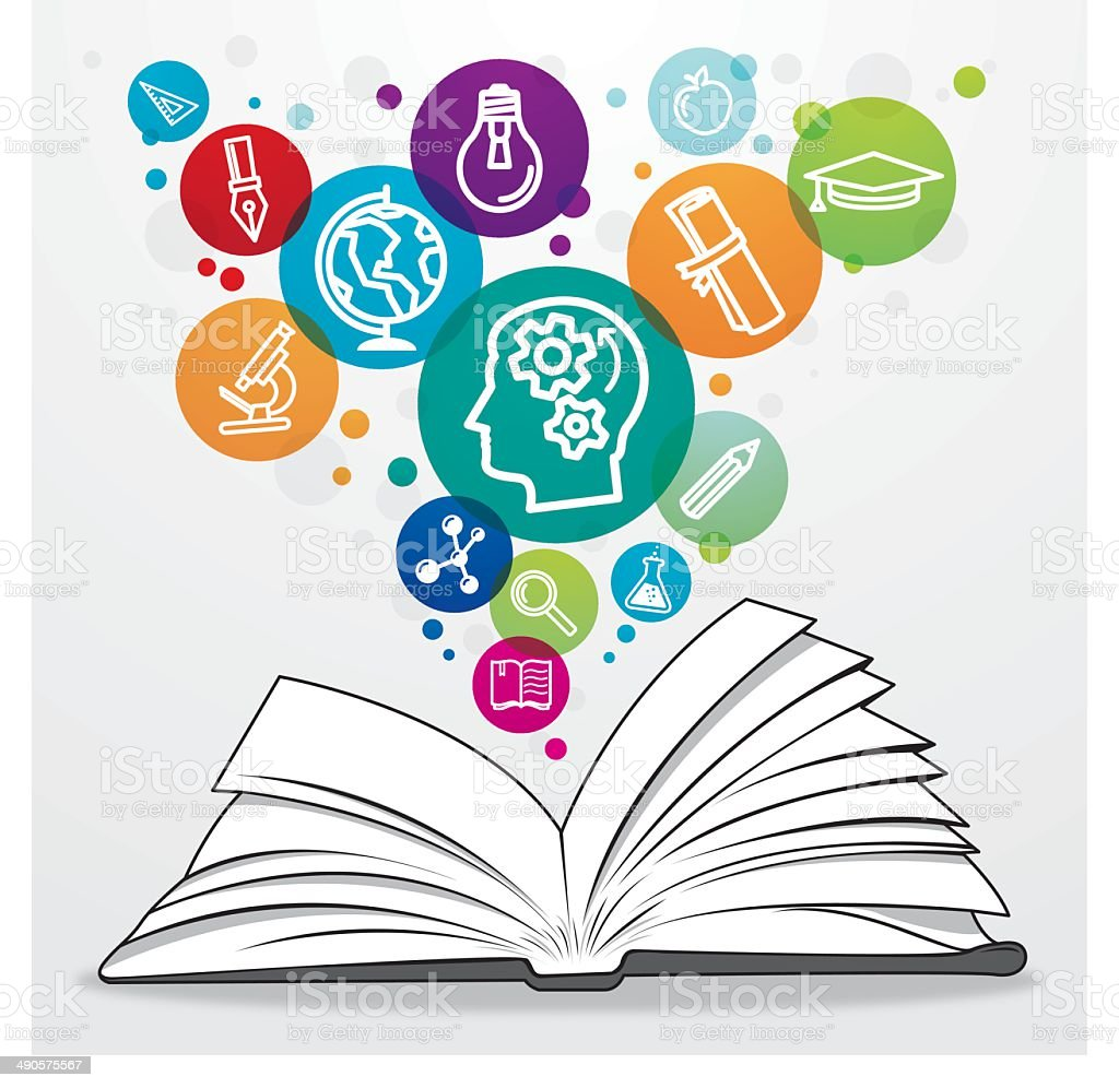Open book with colourful education symbols vector art illustration